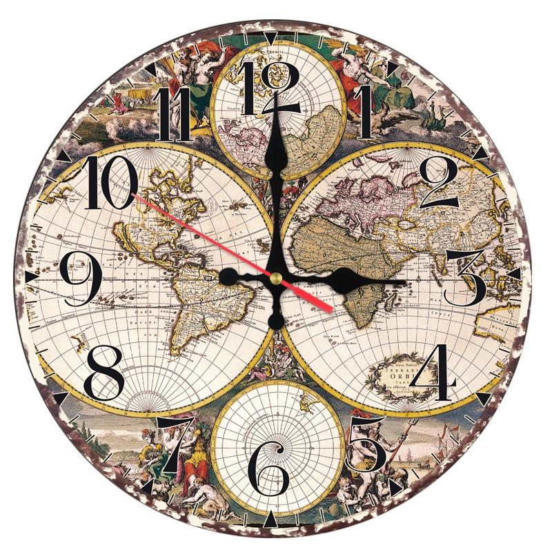 Nové módní nástěnné hodiny dřevěné hodiny Quartz hodinky Evropa domácí výzdoba obývací pokoj zátiší kruh samolepky mapa tváře