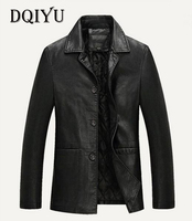 DQIYU Spring Autumn Thicken Business Casual Leather Jacket Top Quality Single Breasted Faux Leather Jacket Men