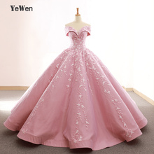 V-neck Pink Long Evening Dress 2019 Appliques Lace High Quality Puffy Prom Gowns Vestido De Festa Off The Shoulder Gown