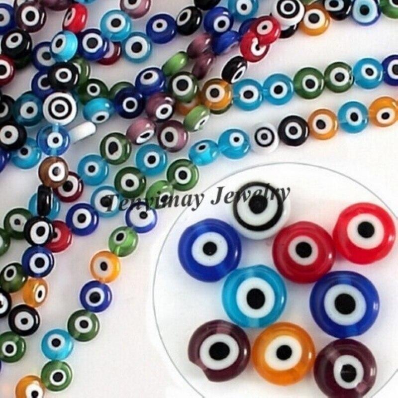 74f64c3cc الجملة 500 pcs 6mm مفلطح الخرز الزجاجي العين الخرز مختلط اللون ل DIY شحن  مجاني