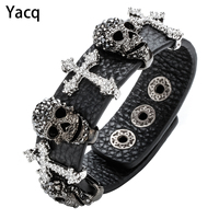 Black Leather Skull Cross Adjustable Bracelet For Women Crystal Rhinestone Bangle Punk Biker Halloween Jewelry Wholesale