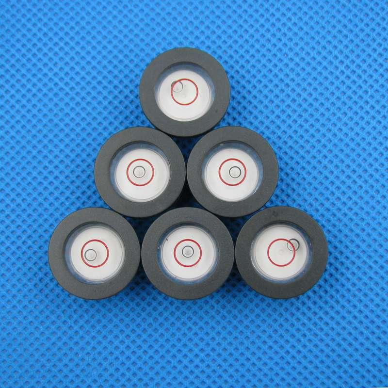 (100 Teile/los) 20*10mm Mini Wasserwaage Mit Schwarz Shell Rund Wasserwaage Rote Linie Auf Die Oberfläche In Vielen Stilen