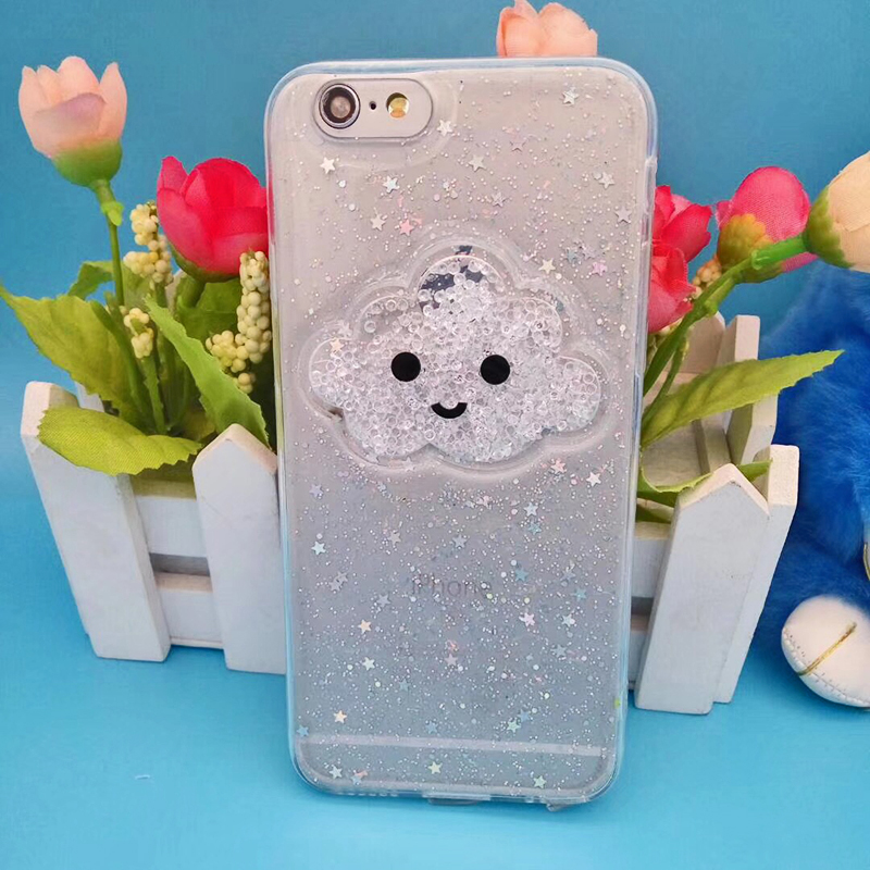 Cute Glitter Powder Smile Face Clouds Mobile Phone Case For iPhone X Soft TPU Dynamic Beads Back Cover For iphone 6 6s 7 8 Plus Case (10)