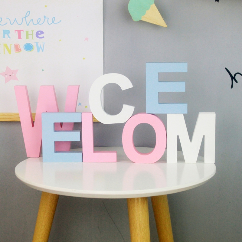 Colorful English Letters Decorative Wooden Wedding Decoration DIY Personalized Name Children's Room Decoration Shooting Props