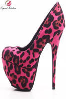 New Fashion Women Pumps Sexy Leopard Flock Pumps Round Toe Thin High Heels Shoes Woman Plus