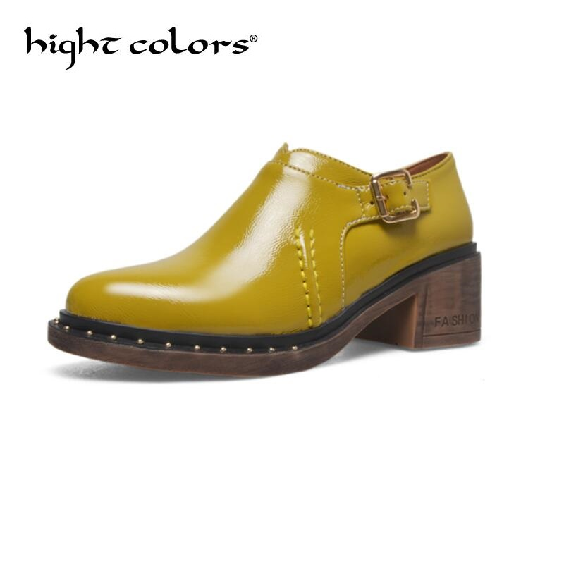 2018 Women Oxfords British Style Round-toe Casual Shoes Patent Leather Woman Solid Spring Student Brogues Shoes Medium Loafers shehuimei brand 2018 women flats patent leather oxford shoes woman loafers vintage british style round toe handmade casual shoes