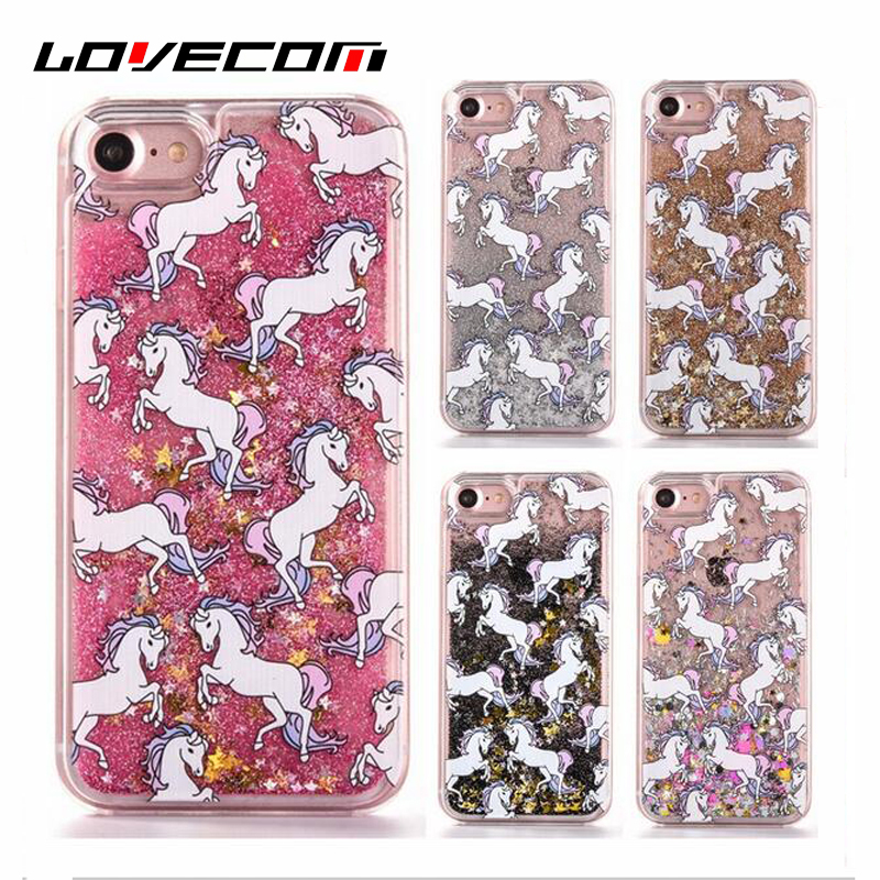 Lovecom para iphone 4 4s 5 5s se 5c 6 6 s plus 7 7 más cartoon unicorn horse tel