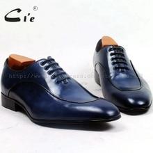 Cie quanh đồng bằng toe lớp gỉ viền màu xanh trọng lượng nhẹ đế ngoài bằng da thoáng khí 100% chính hãng da bê bespoke giày nam giới ox501