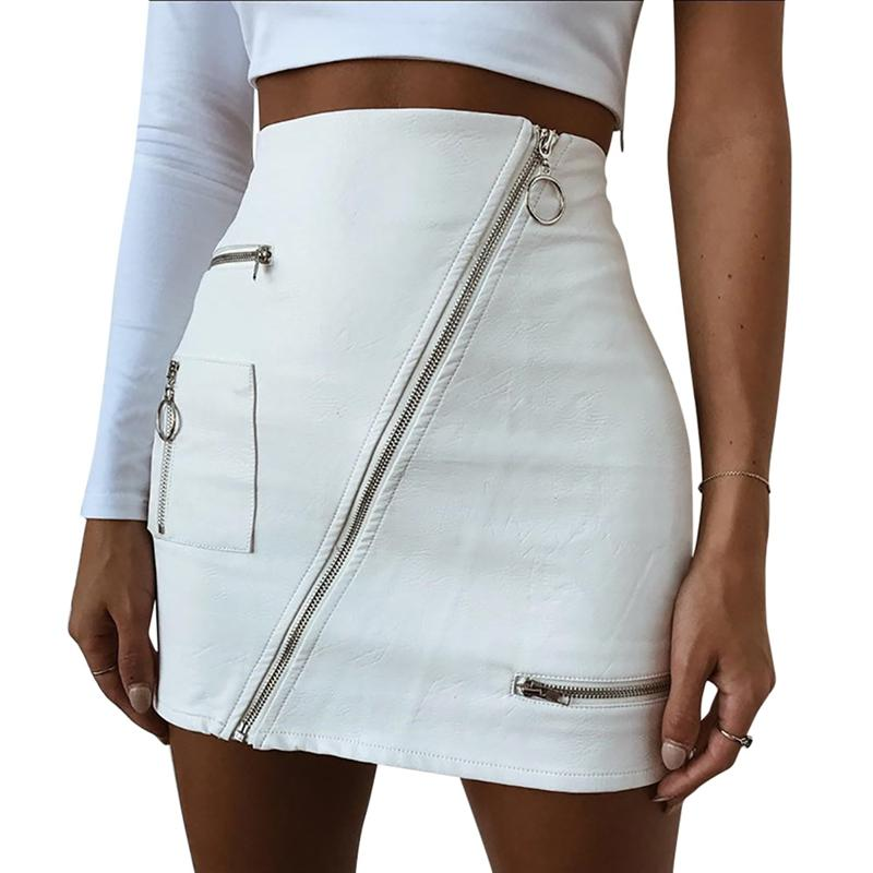2018 New Fashion Skirt Women White PU Leather Pencil High Waist Mini Short Skirt Sexy Zipper Bodycon Skirt Stretch Party Clothes