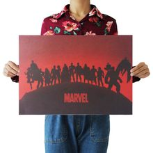 MARVEL Cuadros Super Hero Retro Kraft Movie Poster Antique Wall Art Crafts Sticker Living Room Paint Bar Cafe Core(China)