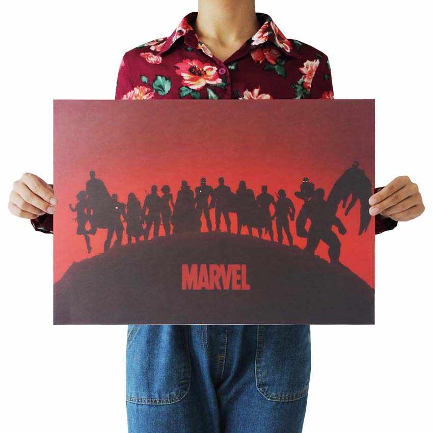 MARVEL Cuadros Super Hero Retro Kraft Movie Poster Antique Wall Art Crafts Sticker Living Room Paint Bar Cafe Core