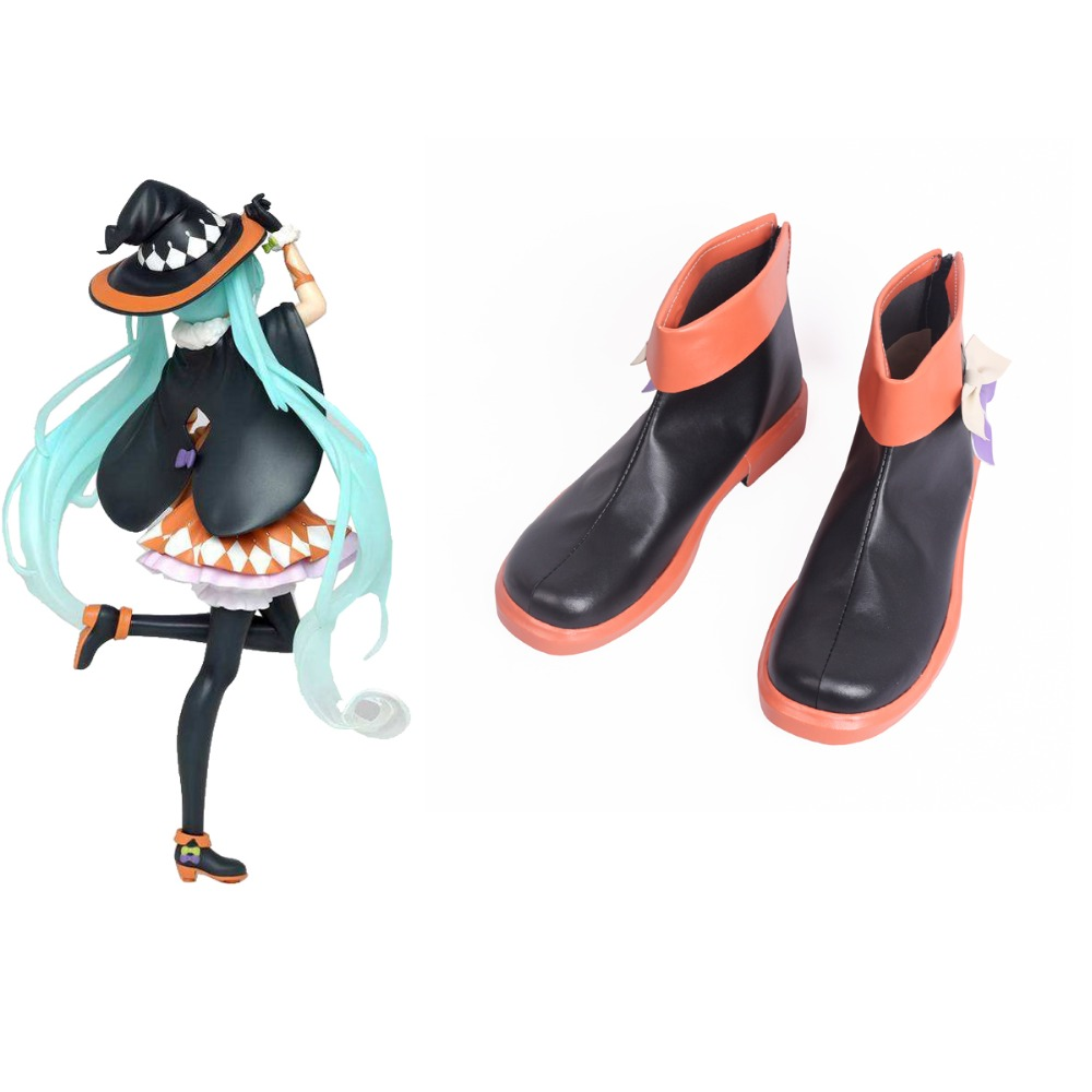 Vocaloid Hatsune Miku 2nd Season Halloween Ver. Black Orange Cosplay Shoes Boots Cosplay Costume Accessories
