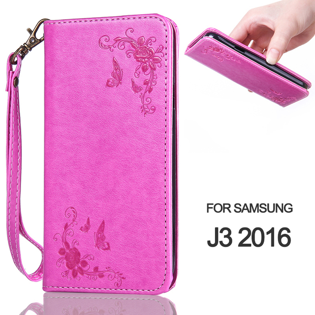 Wallet Case For Samsung J3 2016 Rose Flower Butterfly Magnetic Flip Phone Case For Samsung Galaxy J3