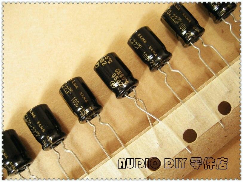 10PCS/50PCS ELNA Black Gold Word RA2 Series 22uF 100V 100V22uf Audio Electrolytic Capacitor