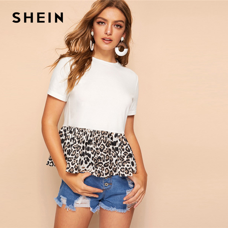 SHEIN Cute White Cut-and-sew Leopard Peplum Top T Shirt Women Color-block O-Neck Summer Ruffle Hem Short Sleeve Casual T-shirts