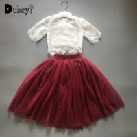 Toddler Girl Lace Clothing Suits Infant Girls Boutique Ruffle Outfits Summer Lace Top + Skirt Set for Elegant Girl
