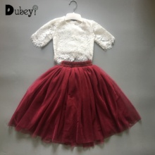 Toddler Girl Lace Clothing Suits Infant Girls Boutique Ruffle Outfits Summer Lace Top + Skirt Set for Elegant Girl rose skirt sets for girl clothing body pink bodysuit with ruffle tutu dress infant clothing summer seaside holiday 4pcs set