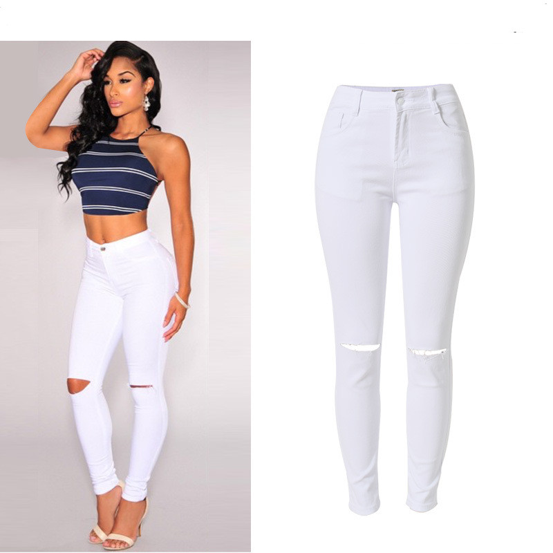 High-Waist Women Jeans Solid Elastic Stretch Knee Hole White Color Skinny Plus Size Pencil Pants Femme Fashion Ripped Jeans 2017 new jeans women spring pants high waist thin slim elastic waist pencil pants fashion denim trousers 3 color plus size