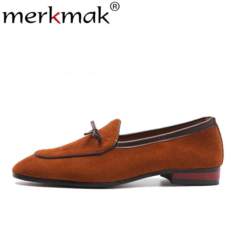 Merkmak Suede Loafers Men Fashion Frosted Scrub Pointed Large Size 38-48 Men's Dress Shoes Slip On Casual Footwear Man's Flat