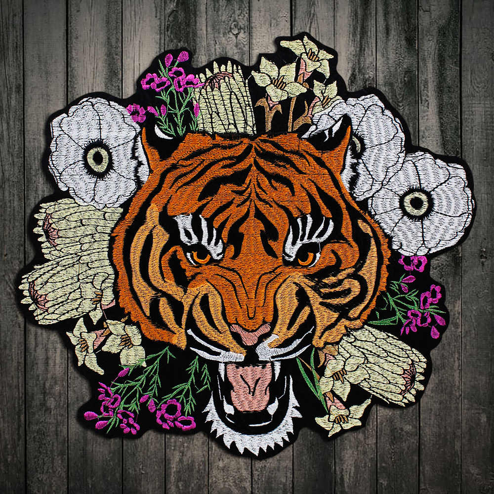 1Piece Embroidery Fashion Cool Big Large Yellow Tiger Flowers Patch Applique Badge Clothes Patch, Iron on Patches for Clothes