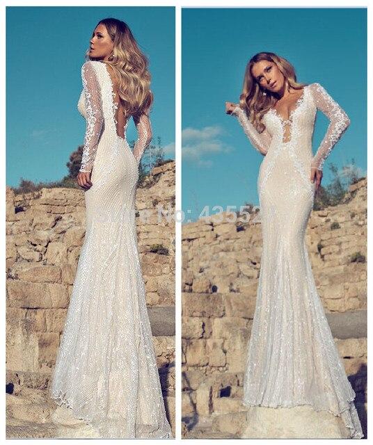 Nitree Extreme Sexy Mermaid Wedding Dresses Deep V Neck Backless