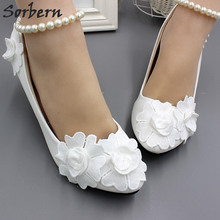 Sorbern Fashion Kitten Heels Wedding Shoes Pump High Heel Bridal Shoes Women  Beading String Ankle Strap f06d26ff26e0