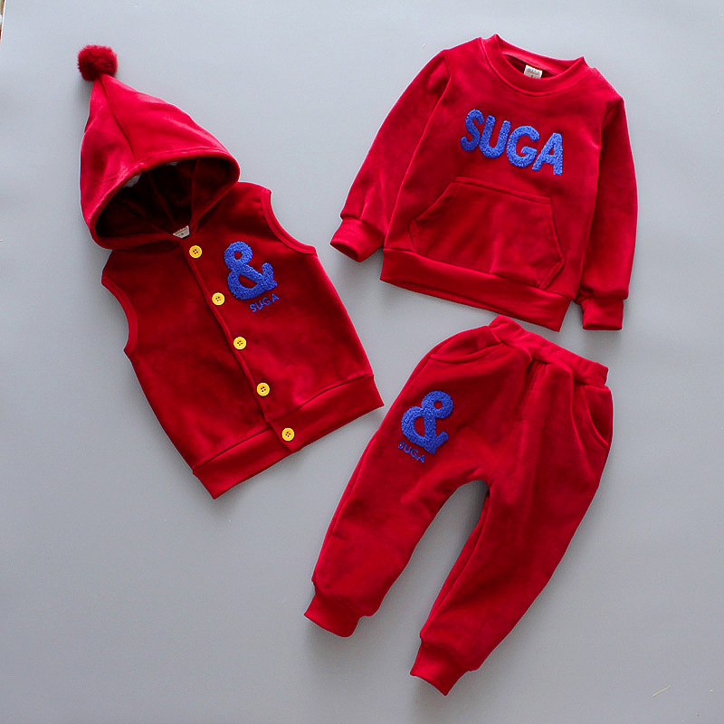 DapChild Children Clothes Set Girls Boys Button Vest + Pullover Sweatshirt + Leggings pants Christmas Hat Winter Warm Tracksuit button pullover graphic sweatshirt