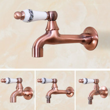 Antique Red Copper Wall Mount Outdoor Faucet Garden Bibcock Tap Ceramic Handle Bathroom Washing Machine /mop KD081