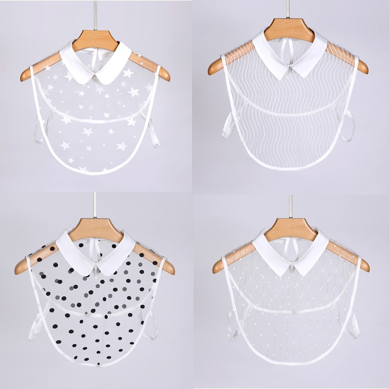 Lace Flowers Fake Collars For Women Lace White Detachable Half Shirt Apparel Accessories Decoration Detachable Collars