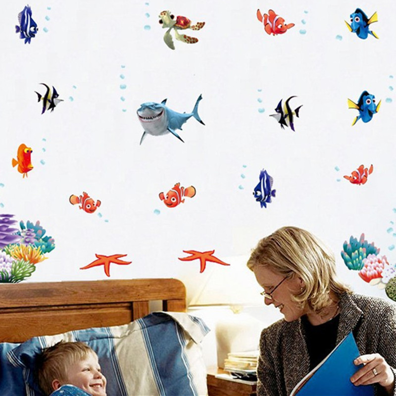 Wall Stickers Finding Nemo Under Sea Shark Fish 3d Cartoon Waterproof Vinyl Wall Decals Stickers Removable Bathroom Wall Decor