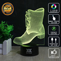 HUI YUAN Brand USB 3D Lamp Visual illusion Novelty Night Light Boots Holiday Lights Glowing Children Christmas Gift