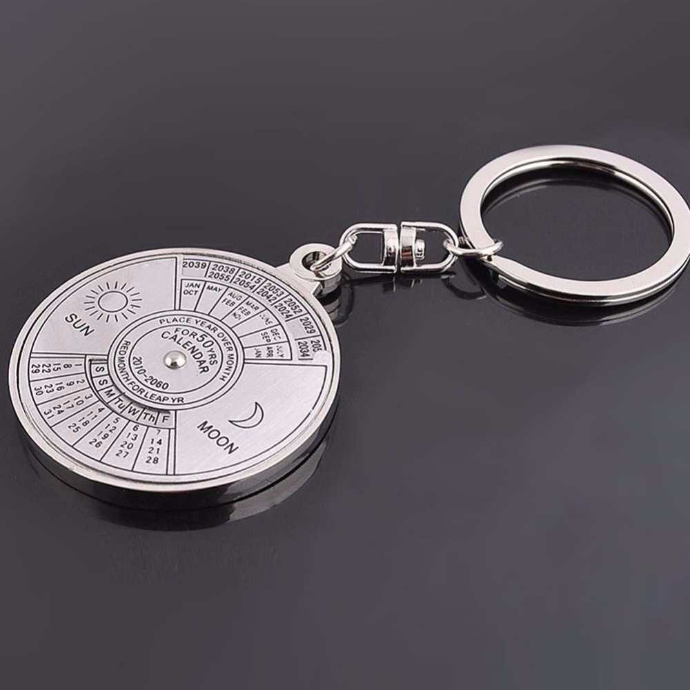 Year Calendar Keyring : Perpetual calendar unique metal key chain ring years