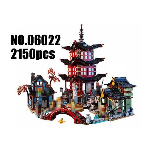 Compatible with Lego Ninja 70751 2150 pcs 06022 blocks Ninja Figure Temple of Airjitzu toys for children building blocks 70603 ninja temple model building blocks 06022 2150pcs assembly block toys for children ninja figure bricks compatible with legoinglys