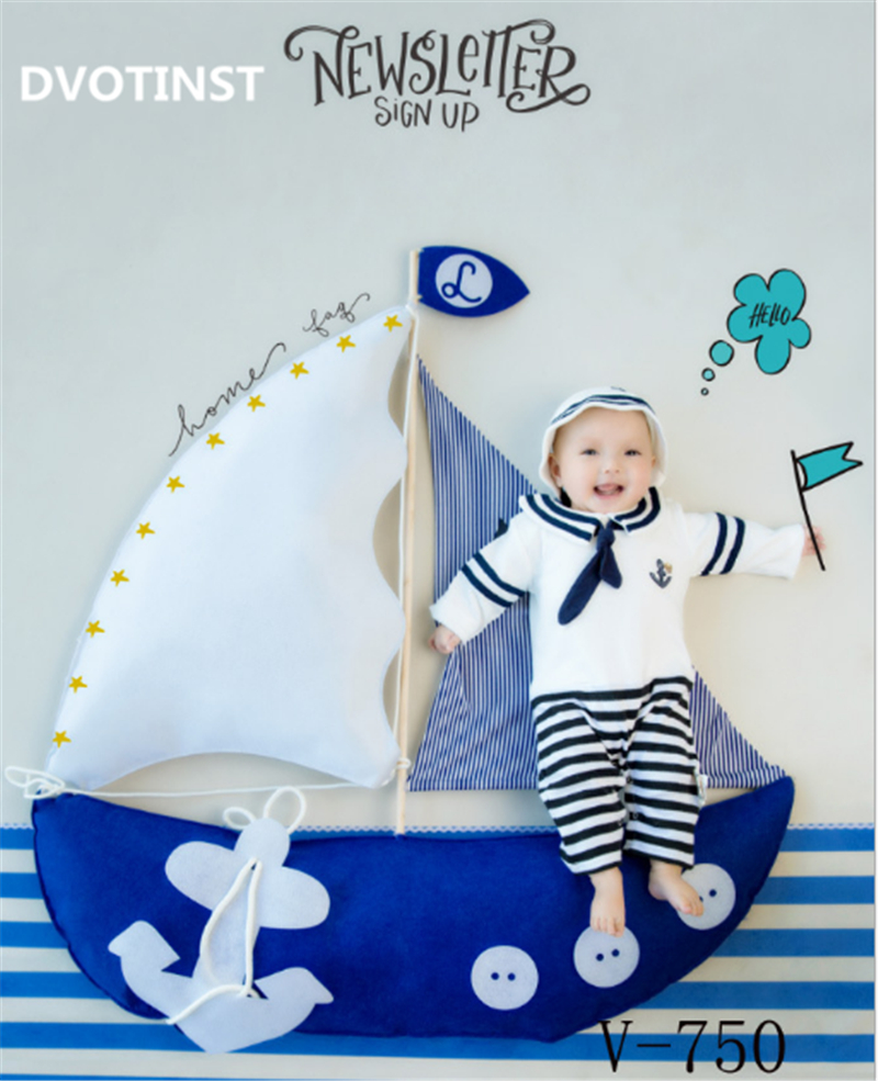 все цены на Dvotinst Baby Photography Props Navy Theme Background Costume Clothes Set Fotografia Accessory Studio Shooting Photo Props