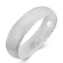 f1cebf8da9ac 2018 nueva pulsera de plata de ley 925 joyería grande malla ancha completo  brazalete pulsera brazalete para las mujeres joyería .
