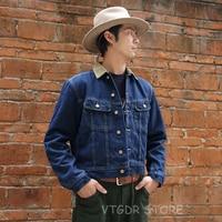 NON STOCK Storm Rider Blanket Lined Corduroy Collar Denim Jacket Blue Jean Coat For Men