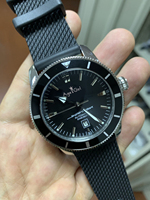 Элитный бренд новый Для мужчин серебристый, Черный автоматические механические Нержавеющаясталь часы с сапфировым стеклом каучука враща