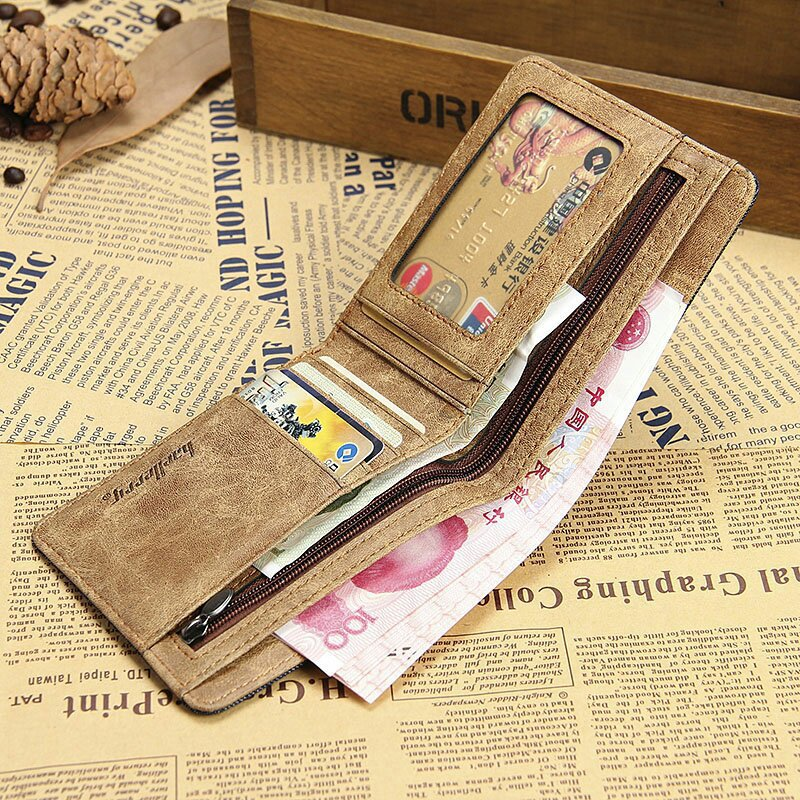 Short Wallet  Designer's Canvas Brief Purse For Male Cute Card Purse Wallet