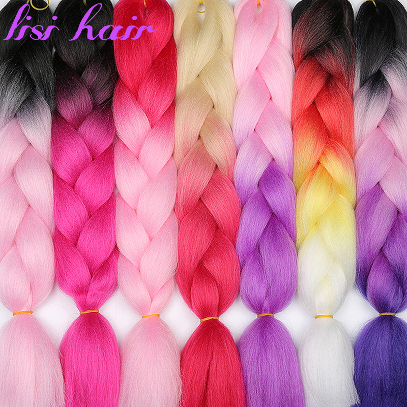 LISI HAIR Ombre Jumbo Synthetic Braiding Hair Crochet Jumbo Hairstyle Blonde Pink Blue Grey Hair Extensions