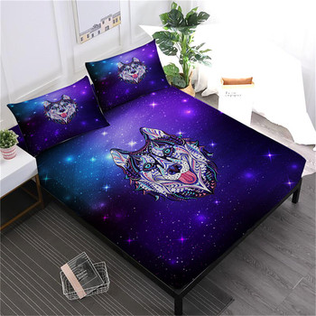 Animal Husky Dog Print Bed Sheets Colorful Cat Printed Fitted Sheet 3D Galaxy White Purple Bed Linens Pillowcase Home Decor