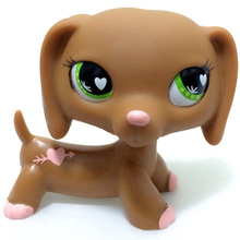 LPS Pet Shop Rare Pink Arrow Through Heart Pattern Brown Dachshund Dog Collection Cosplay Mini Action Figure Children Gift