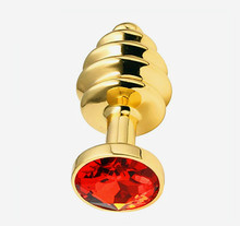 Unisex Masturbation Gold Color Stainless Steel Butt Plug Metal Anal Plug With Crystal Jewelry Spiral Anal Beads Sex Proudct