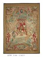 Antique French Aubusson Tapestry Needle Point Cross Stitch Brown Fashionable Circular Household Decoration Mat Square Tapestry