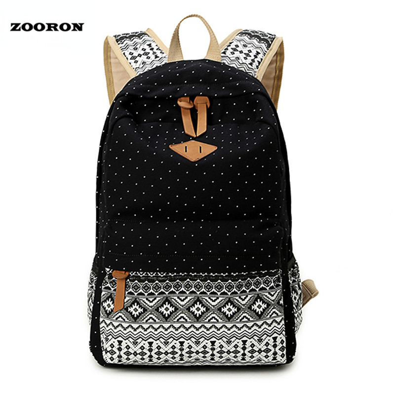 ZOORON Korean Canvas Printing Backpack Women School Bags for Teenage Girls Cute Bookbags Vintage Laptop Backpacks Female