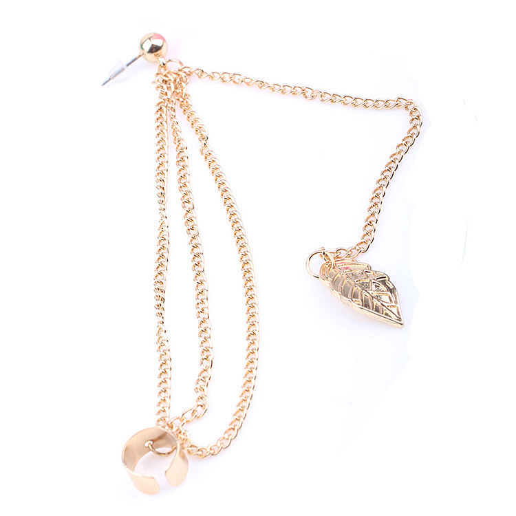 1Pcs Fashion Jewelry Gold Silver Plated Tassel Chains Leaf Pendant Ear Cuff Elegant Women Girls Clip Earring(China)