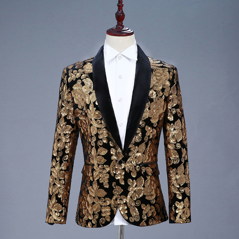 lovever Mens Retro Embroidered Long-Sleeved Slim Fit Printed Front Open Court Suit Blazers