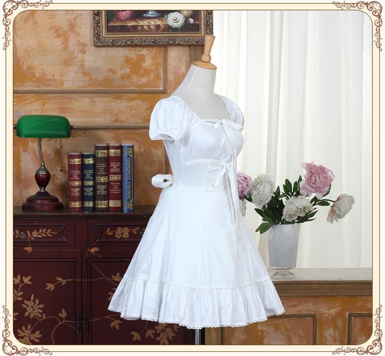 Palace blanc coton col carré Feifei manches dentelle garniture gothique Lolita robe