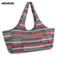 Ethnic Style Yoga Gym Bags for Women Fitness Tote Canvas Yoga Mat Gym Bags Large Travel Duffel Handbag sac de sport bolsas