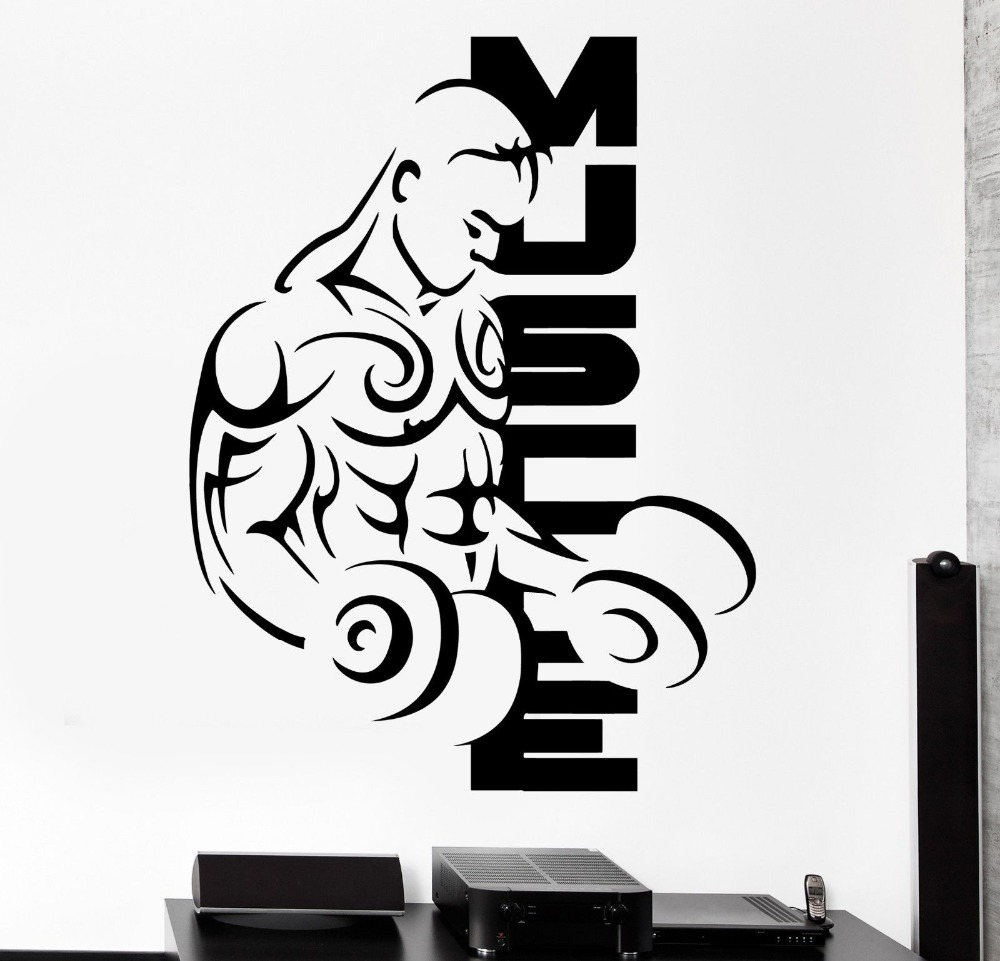 living Room Decoration Wall Sticker Sport Muscle Bodybuilding Dumbell Barbell Vinyl Decal Modern Wall Stickers KW 190 in Wall Stickers from Home Garden