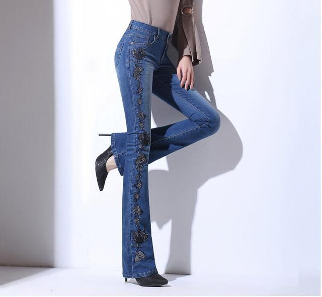 b12a00214e4 Fashion Autumn Embroidery High Waist Flare Jeans Pants Plus Size Stretch  Skinny Jeans Women Wide Leg Slim Hip Denim Boot Cuts